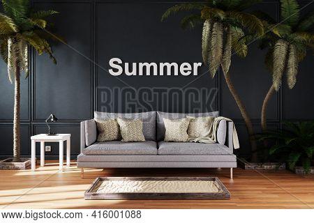 Elegant Living Room Interior With Vintage Sofa Between Large Palm Trees; Summer; 3d Illustration
