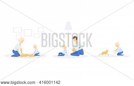 Family Lifestyle Set, Mom And Son Solving Jigsaw Puzzle, Dad Reading Book To His Son, Boy Playing Wi