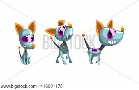 Cute Dog Robots Set, Funny Electronic Pet Animals Cartoon Vector Illustration