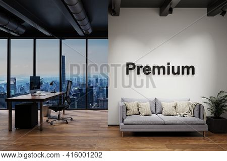 Luxury Loft With Skyline View And Vintage Couch And Pc Workspace, Wall With Premium Lettering, 3d Il