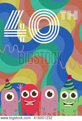 40th written in white lines, with monsters in party hats on invite with swirly colourful background. celebration invitation template design with copy space, digitally generated image.