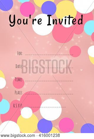 You're invited written in black with colourful circles, invite with details space on pink background. celebration invitation template design with specified copy space, digitally generated image.
