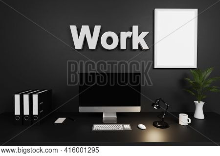 Clean Office Workspace With Computer Screen And Dark Concrete Wall; Work From Home Lettering; 3d Ill