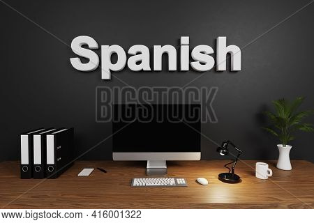 Clean Office Workspace With Computer Screen And Dark Concrete Wall; Spanish Lettering; 3d Illustrati