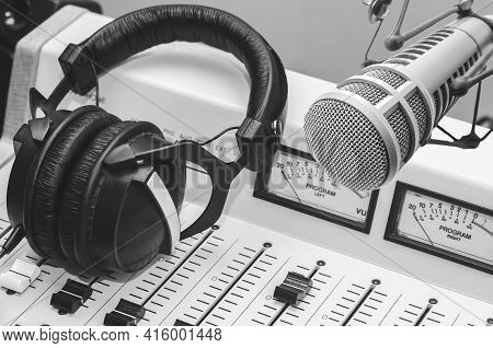 Professional Microphone, Sound Mixer In Radio Station Studio