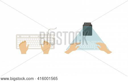 Top View Of Male Hands On Computer Keyboard Set, Wireless And Virtual Input Device Vector Illustrati