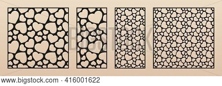 Laser Cut Pattern With Hearts. Vector Template With Small Heart Shapes. Valentine's Day Design. Deco