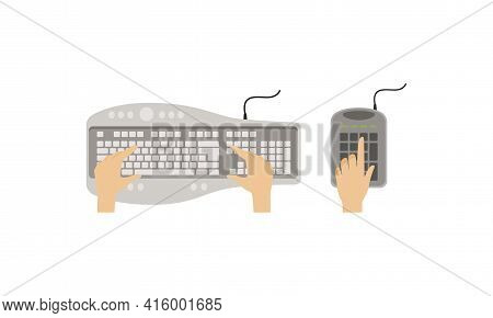 Top View Of Computer Keyboard And Hands Of User Set Vector Illustration