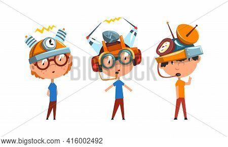 Cute Kids Wearing Steampunk Headgear Set, Scientist Children Working On Science Experiments Vector I