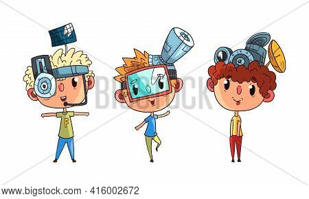 Cute Boys In Steampunk Headgear And Goggles Set, Scientist Children Doing Experiments Vector Illustr