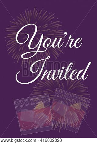 You're invited written in white with pale fireworks and two drinks on invite with purple background. celebration invitation template design with specified copy space, digitally generated image.