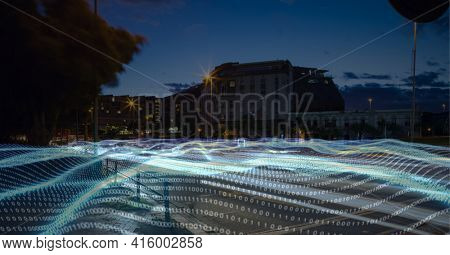 Composition of digital interface over a cityscape in background. global technology, digital interface, connection and communication concept digitally generated image.