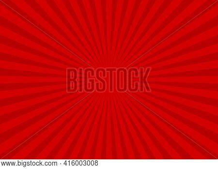 Sunlight Retro Wide Horizontal Background. Red Color Burst Background. Fantasy Vector Illustration.