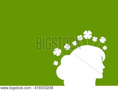 Green Eco Poster Or Placard. Woman Head With Clover Leaves. Ecology, Eco Friendly, Ethic Business, E