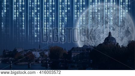 Composition of digital interface over a cityscape with a full moon in background. global technology, digital interface, connection and communication concept digitally generated image.