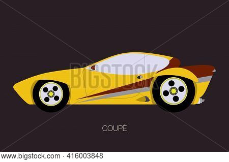 Yellow Coupe Car, Flat Design Style, Fully Editable