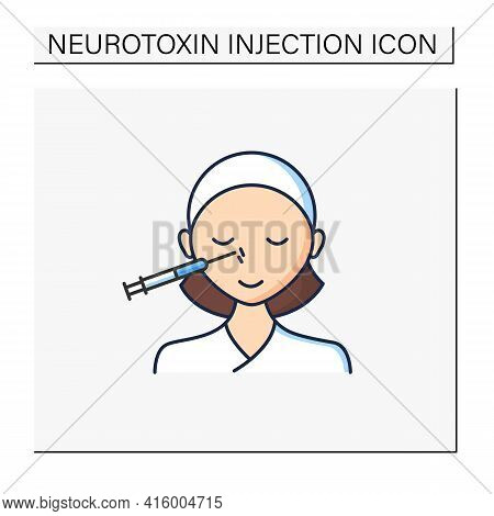 Cosmetic Injection Color Icon.woman Doing Injection Into Nose. Nose Lifting.rejuvenation.beauty Cosm