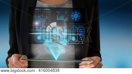 Composition of caucasian woman holding a technological device with statistics and data. global technology, digital interface, connection and communication concept digitally generated image.