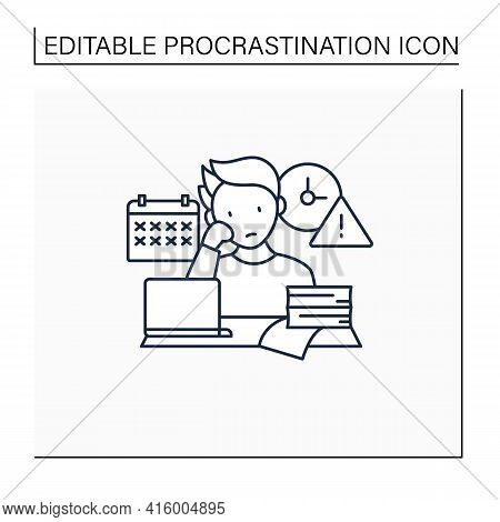 Delaying Deadlines Line Icon.schedule Gets Out. Task Execution Delay.postpone Unpleasant Tasks For L