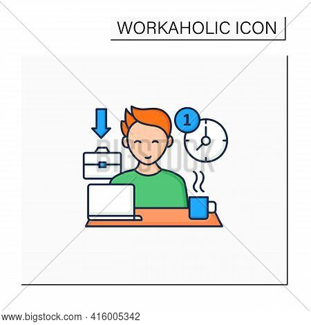 Workaholic Color Icon.first Arrive At Work. Enjoy Job. Be On Time. Man At Laptop. Hard Working.overw