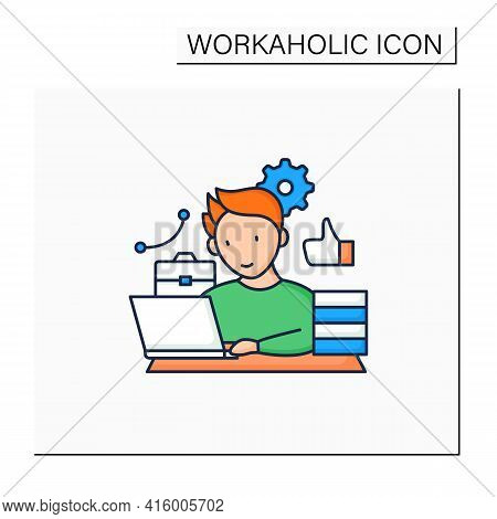 Workaholic Color Icon. Behavioral Causes. Man Works On Laptop. Hard Working. Satisfied From Work.ove