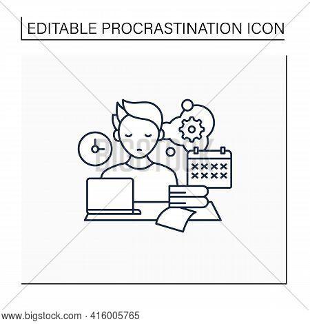 Defier Procrastinator Line Icon.avoid New Tasks. Finding Reasons Not Complete Tasks.procrastination