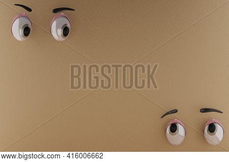3d Rendering Of Unique Eyes, Glares And Pity Emotion. And Brown Paper Background. Perfect For Backgr
