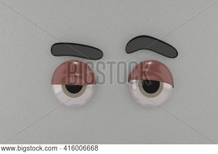 3d Rendering Of Unique Eyes, Relax Emotion And Grey Paper Colors Background . Perfect For Background