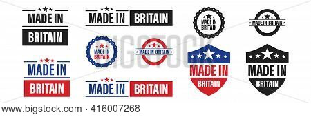 Made In United Kingdom . Set Of Label Made In Britain . Vector Illustration On White Background.