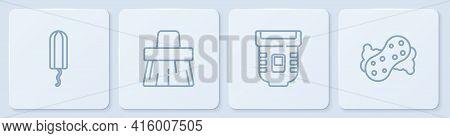 Set Line Sanitary Tampon, Epilator, Handle Broom And Sponge. White Square Button. Vector