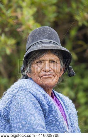 Copacabana, Bolivia, January 13- 2015: Portrait Of A Bolivia Senior Woman Living On Isla Del Sol (is