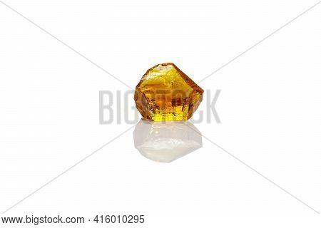Macro Yellow Diamond Mineral Stone On White Background