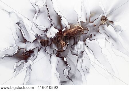 Abstract Hand Painted Alcohol Ink Texture. Black, White And Gold Colors. Marble Imitation. Creative