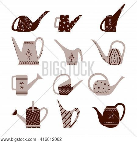 Set Of Garden Watering Cans. Bright Watering Cans With Patterns. Flat Style Vector Illustration Isol