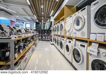 Chisinau, Moldova, May 2020: showroom of domestic appliance store with washing machines, and other appliances, mostly from Bosch brand