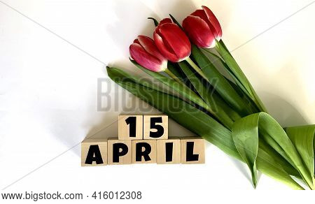 April 15.april 15 On Wooden Cubes.next To It Is A Bouquet Of Red Tulips On A White Background.calend