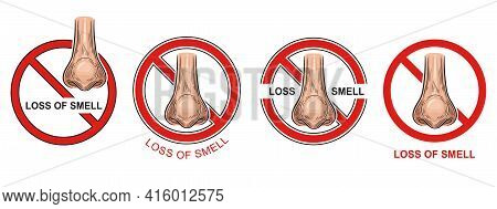 Anosmia, Loss Ability To Smell Icon Set. Covid-19 Infection. Respiratory Disease Symptom. Nose Organ