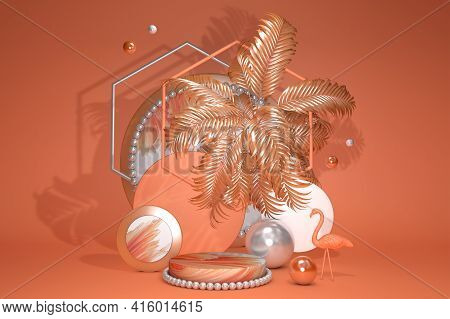 Cylinder Bright Orange Abstract Minimal Stand With Geometric Platform And Flamingo. Summer Style Bac