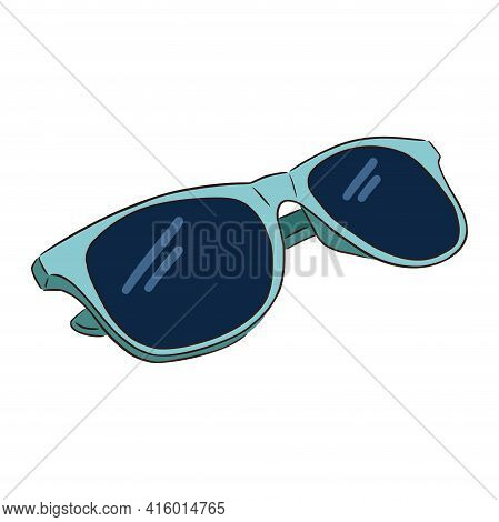 Hand Drawn Blue Sunglasses. Line Drawing Blue Sunglasses Isolated Vector Illustration On White Backg