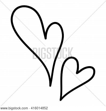 Double Hearts Icon. Hand Drawn And Outline Illustration Of Double Hearts Vector Icon For Web Design