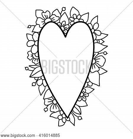 Heart Floral Laurel Icon. Hand Drawn And Outline Illustration Of Heart Floral Laurel Vector Icon For