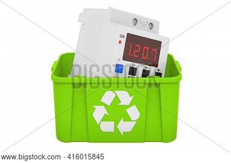 Recycling Trashcan With Digital Timer Switch. 3d Rendering Isolated On White Background