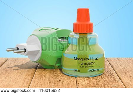 Anti-mosquito Fumigator On The Wooden Planks, 3d Rendering