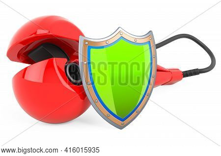 Curling Iron, Hair Curler With Shield. 3d Rendering Isolated On White Background