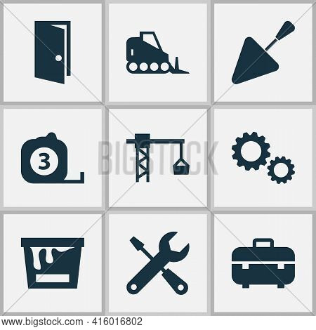 Industry Icons Set With Gear, Bulldozer, Tape Ruler And Other Cogwheel Elements. Isolated Vector Ill