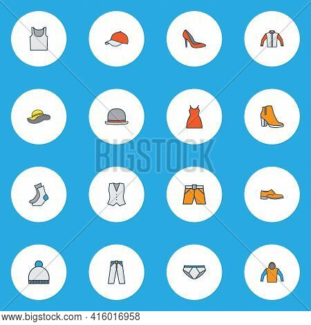 Clothes Icons Colored Line Set With Briefs, Singlet, Hoodie And Other Socks Elements. Isolated Vecto