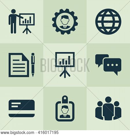 Job Icons Set With Whiteboard, Bank Card, Identification And Other Group Elements. Isolated Vector I