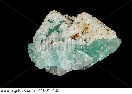 Macro Stone Mineral Fluorite On A Black Background Close Up