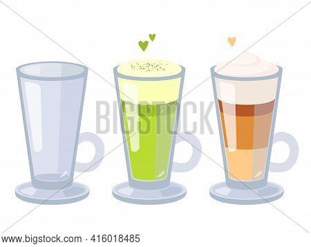 Cartoon Vector Set Of Glass Cappuccino Cups. Empty Cup, Matcha Latte And Classic Cappuccino. Flat De