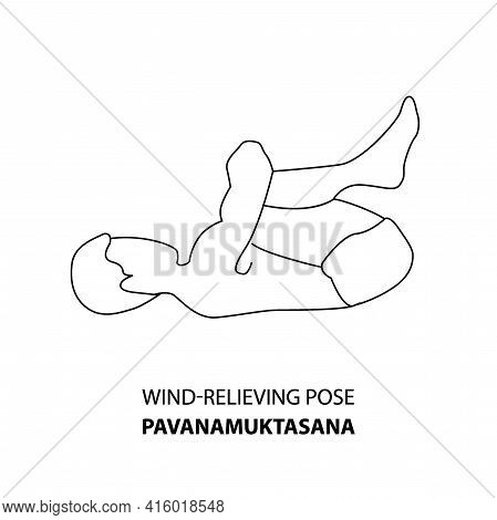 Man Practicing Yoga Pose Isolated Outline Illustration. Man Standing In Wind-relieving Pose Or Pavan
